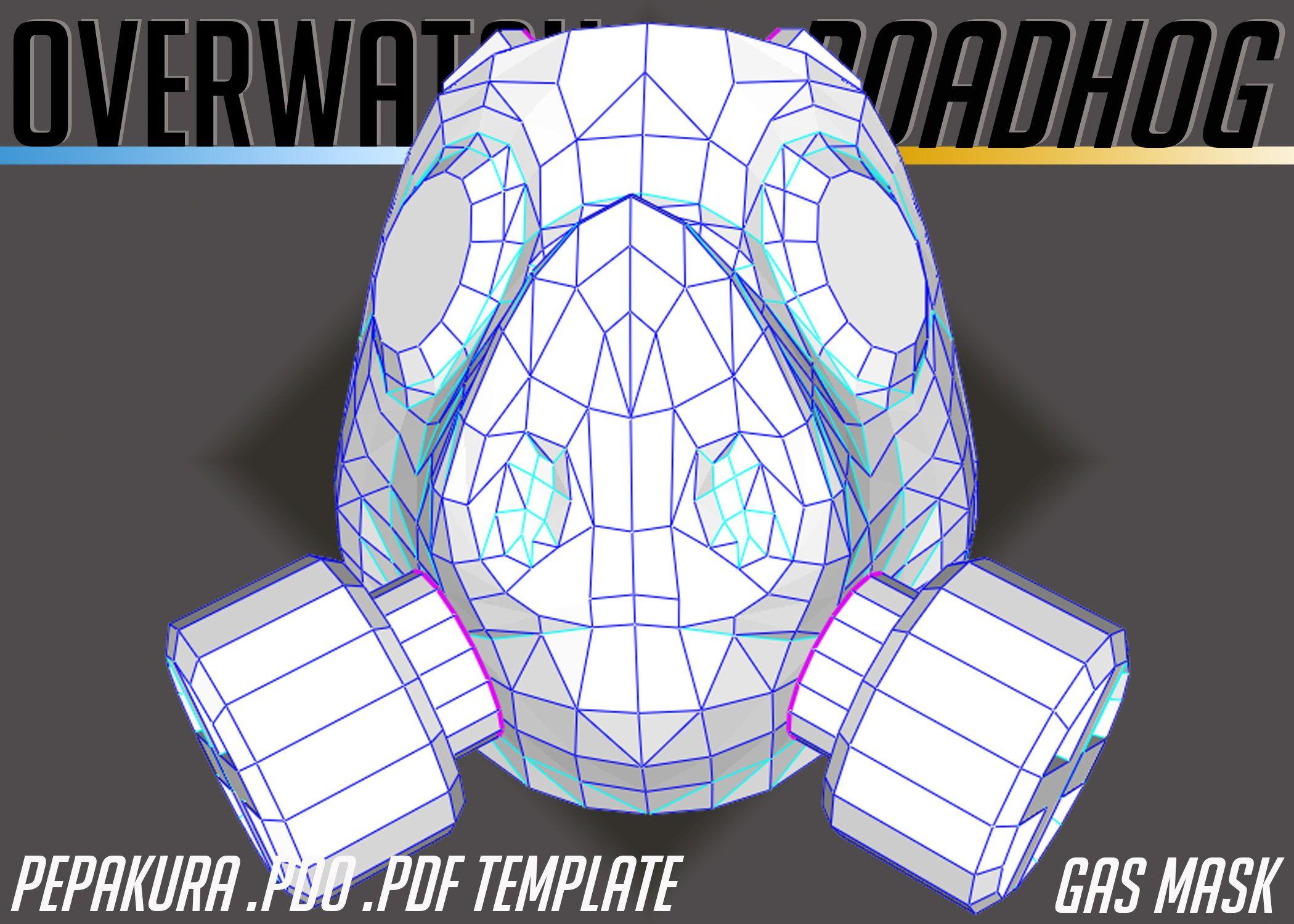 Overwatch Roadhog Gas Mask Pepakura Cosplay Template  PDO