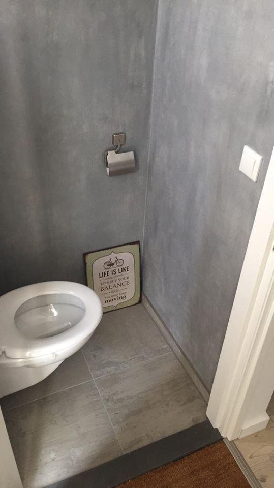 Betonlook Verf In Toilet Verf Badkamer Badkamer Badkamer Muurverf
