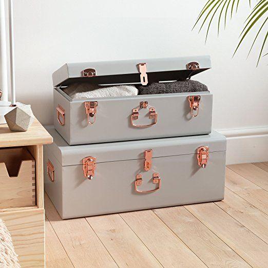 Amazon.com: Beautify Cream Vintage-Style Steel Storage Trunk Set ...