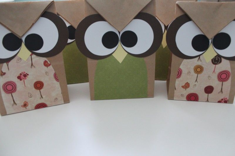 Owl Party Treat Bags Made From Brown Paper And