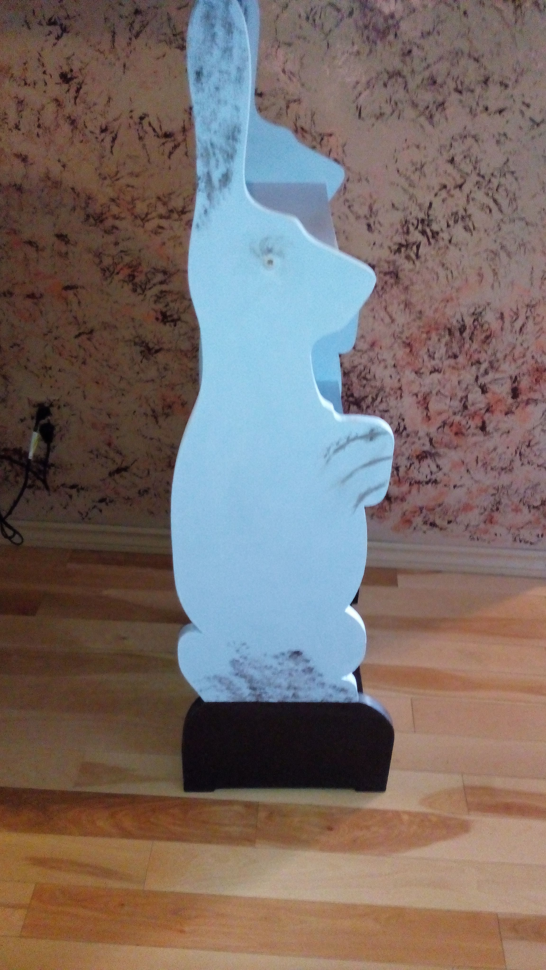 repainted bunny shelf with chalkpaint
