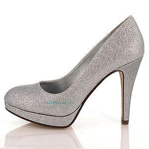 Eiffel Silver Glitter Round Toe Dress Pump High Heel Party Women ...