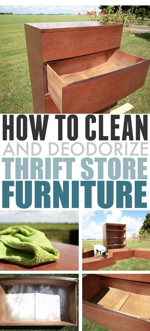 In this post we'll talk about how to clean thrift store furniture that you want to bring home and use in your house or that you'd like to refinish so it can become something beautiful! #CleanThritStoreFurniture #ThriftStore #ThriftStoreFinds #furnitureredos