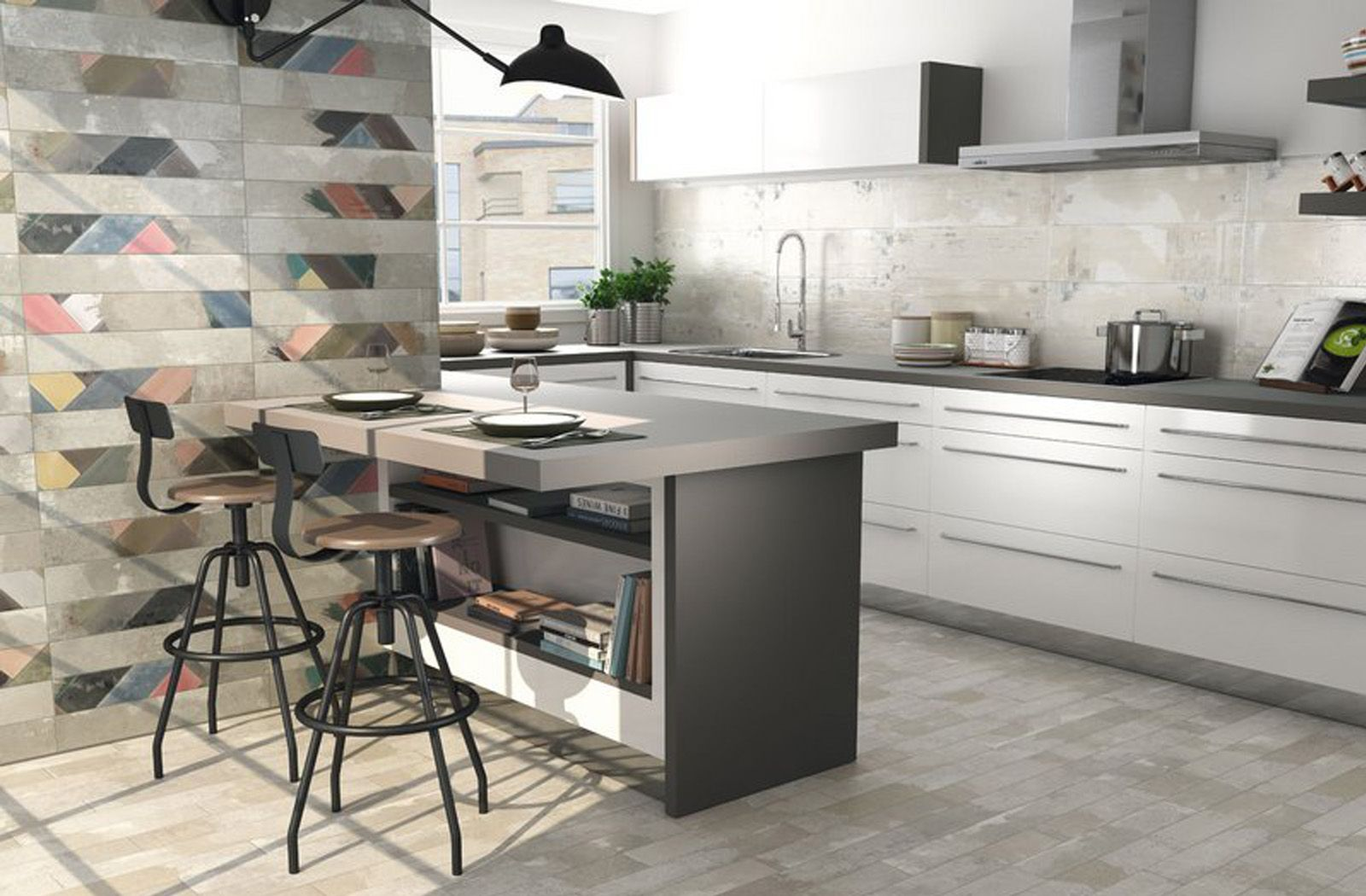 Industrial themed kitchen feature wall idea with Party Mix Cinder ...