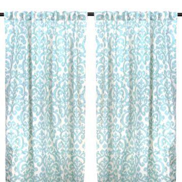 Aqua Darby Curtain Panel Set 96 In