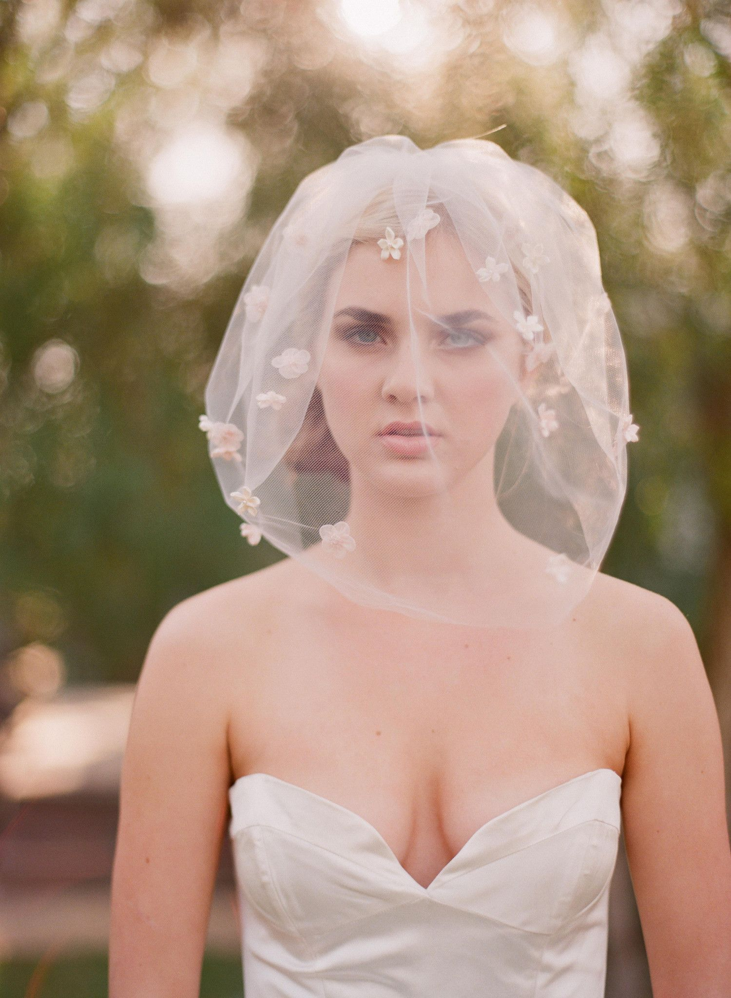 Blusher veil with ribbon bows - Style # 314 | Wedding Headpieces ...