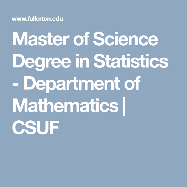 Master of Science Degree in Statistics - Department of Mathematics ...