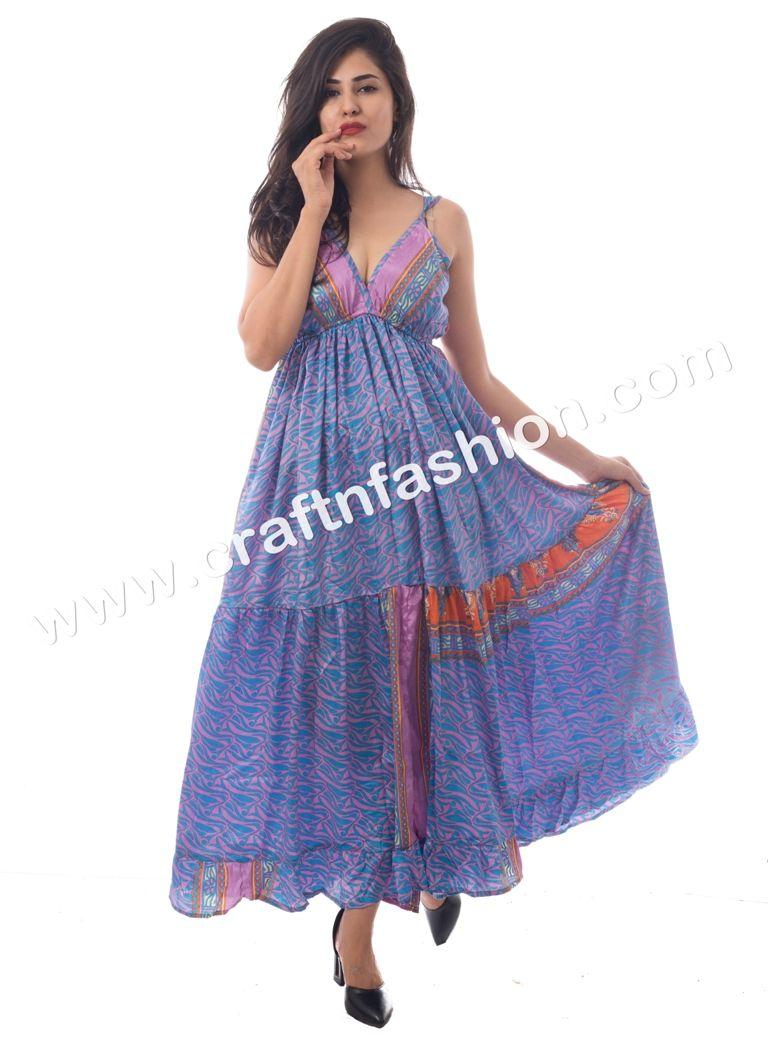 Summer wear long maxi dress indo western fashionable long dress