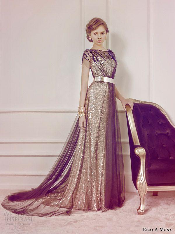 Awesome rico a mona bridal color wedding dress gold black sheer overlay