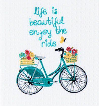 Life Is Beautiful Embroidered Tea Towel
