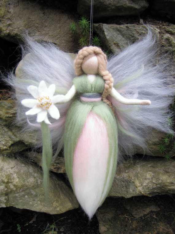 Waldorf inspired fairy doll, wool, Edelweiss