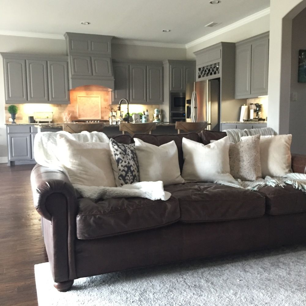 The Finished Product My Freshly Painted House Interior House Colors Brown Leather Couch Living Room Grey