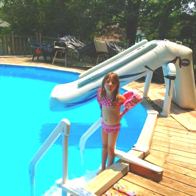 blow up slide at my sisters above ground pool - Diy Above Ground Pool Slide