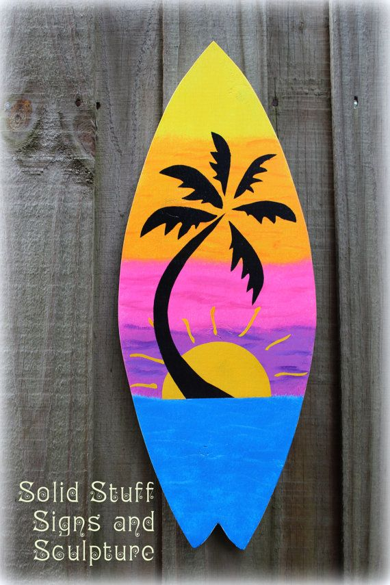 Hand Painted Tropical Sunset Surfboard Wood Sign Wall Art