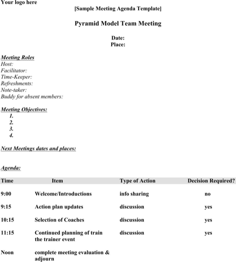 Meeting Agenda Template  TemplatesForms