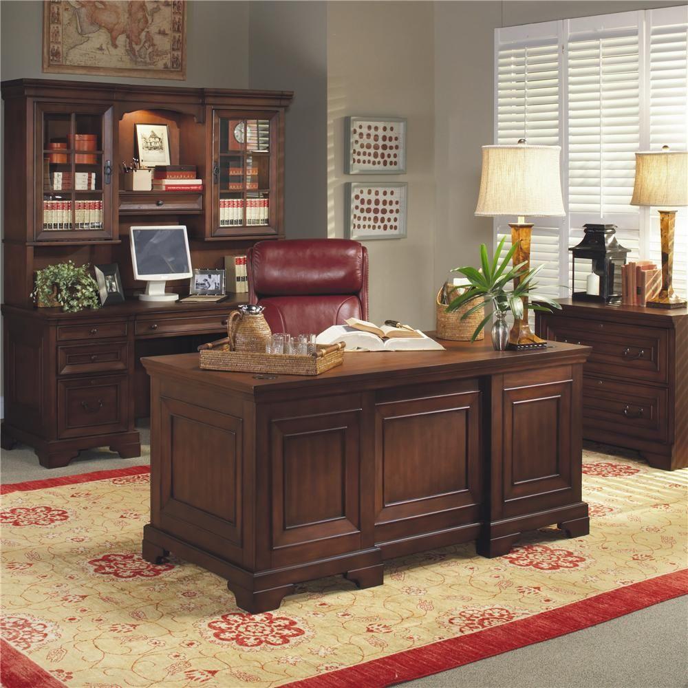 Richmond 66 inch double pedestal executive desk by aspenhome
