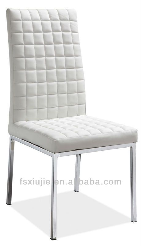 Z651 Soft Chrome Metal Modern Leather Dining Chair Modern Dining