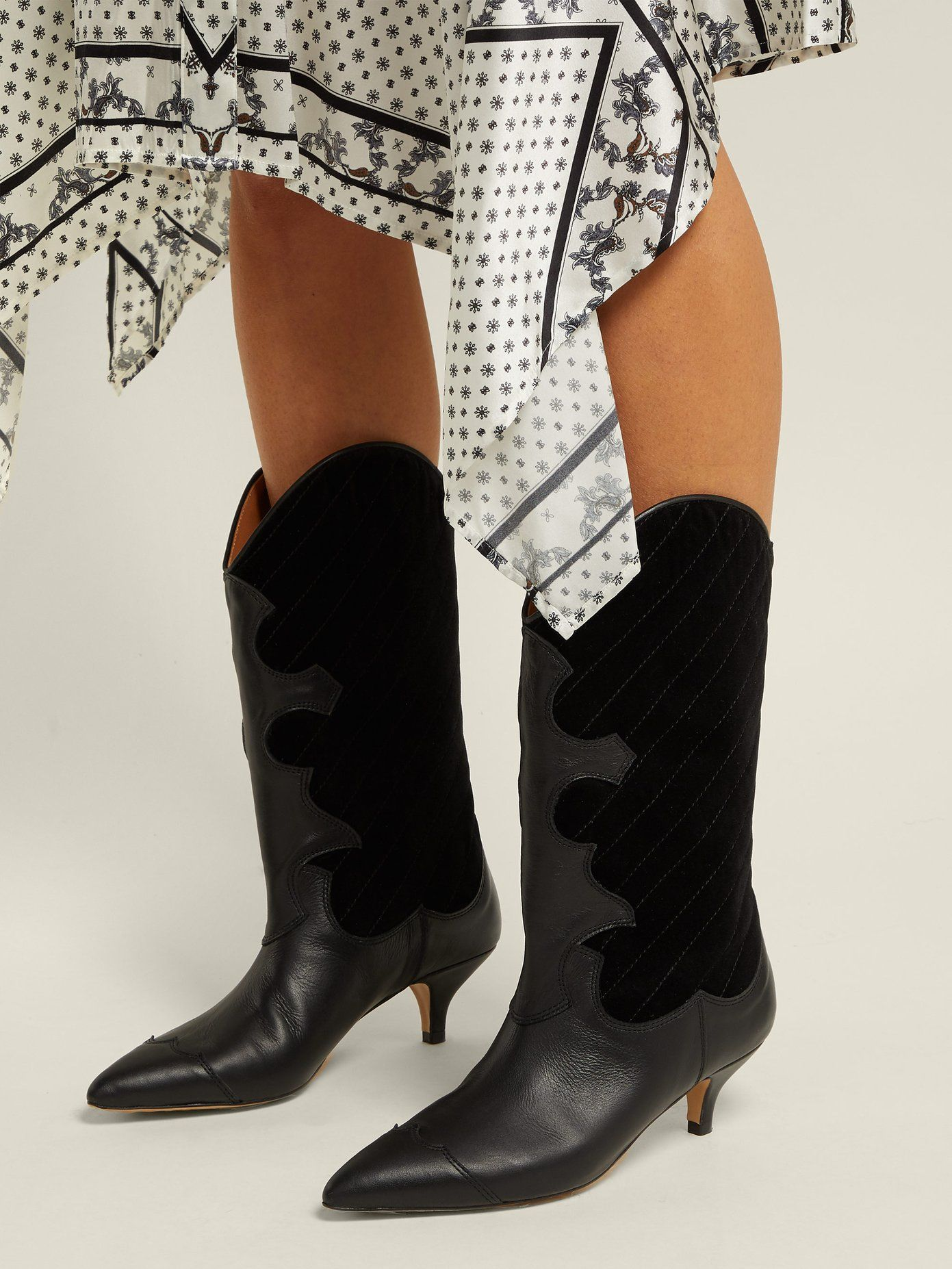 5370cf712d3 Adel quilted velvet western boot | Ganni | MATCHESFASHION.COM Western Boots,  Cowboy Boots