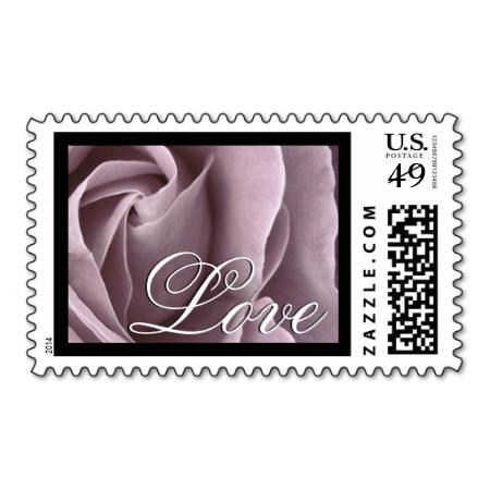 Elegant LAVENDER PURPLE Love Rose Wedding Stamp #wedding #stamps #love #marriage #romance #bride #groom #jaclinart #love #postage #elegant #lavender #purple #rose
