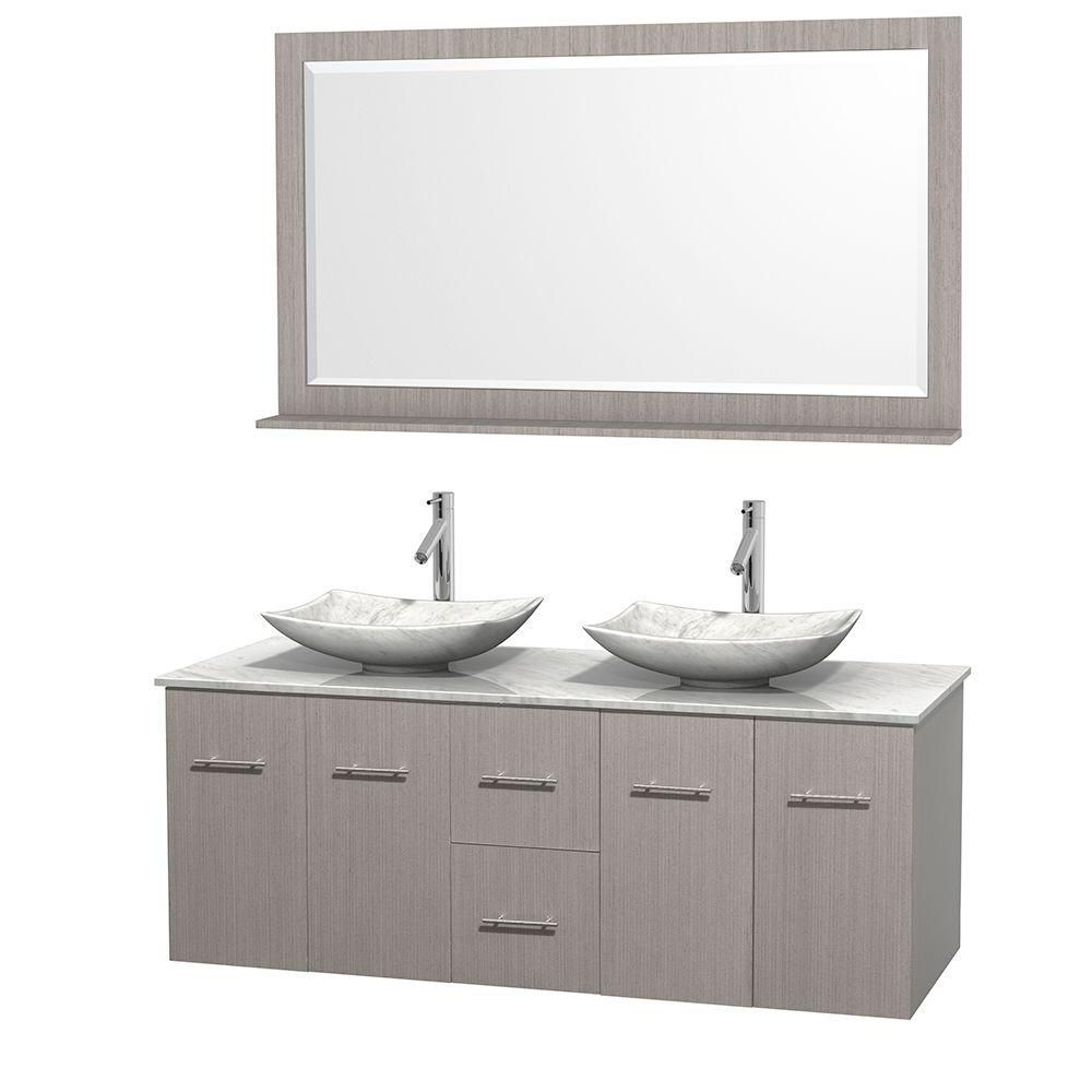 Centra 60 Inch W 2 Drawer 4 Door Wall Mounted Vanity In Grey With