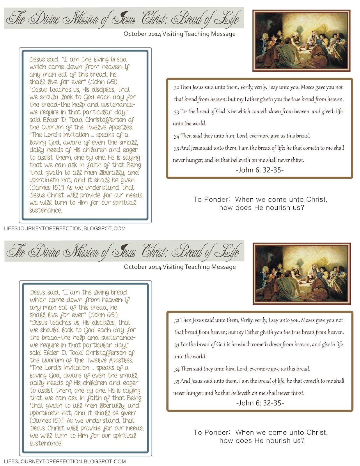 October 2014 Visiting Teaching Message : The Divine Mission of Jesus Christ: Bread of Life ...