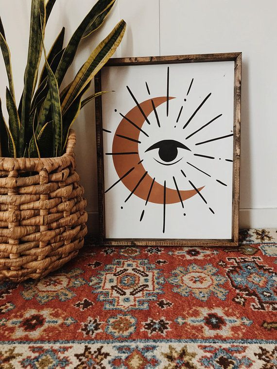 All Seeing Moon Wood Sign