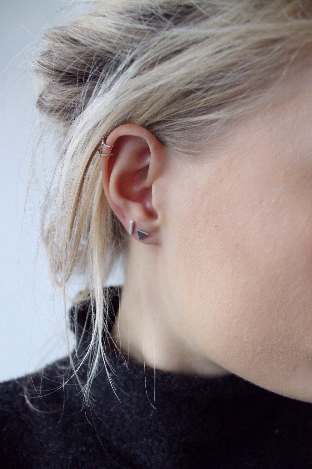 Mix N Match Sterling Silver Mismatched Stud Earrings Perfect To Wear Both  On One Ear Or