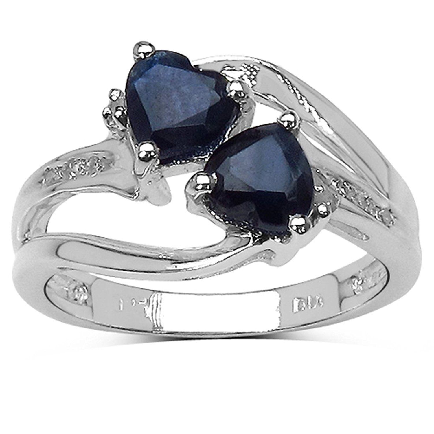 Silver Plated Claddagh Heart With Sea Blue Cubic Zirconia Ring Sizes J to W