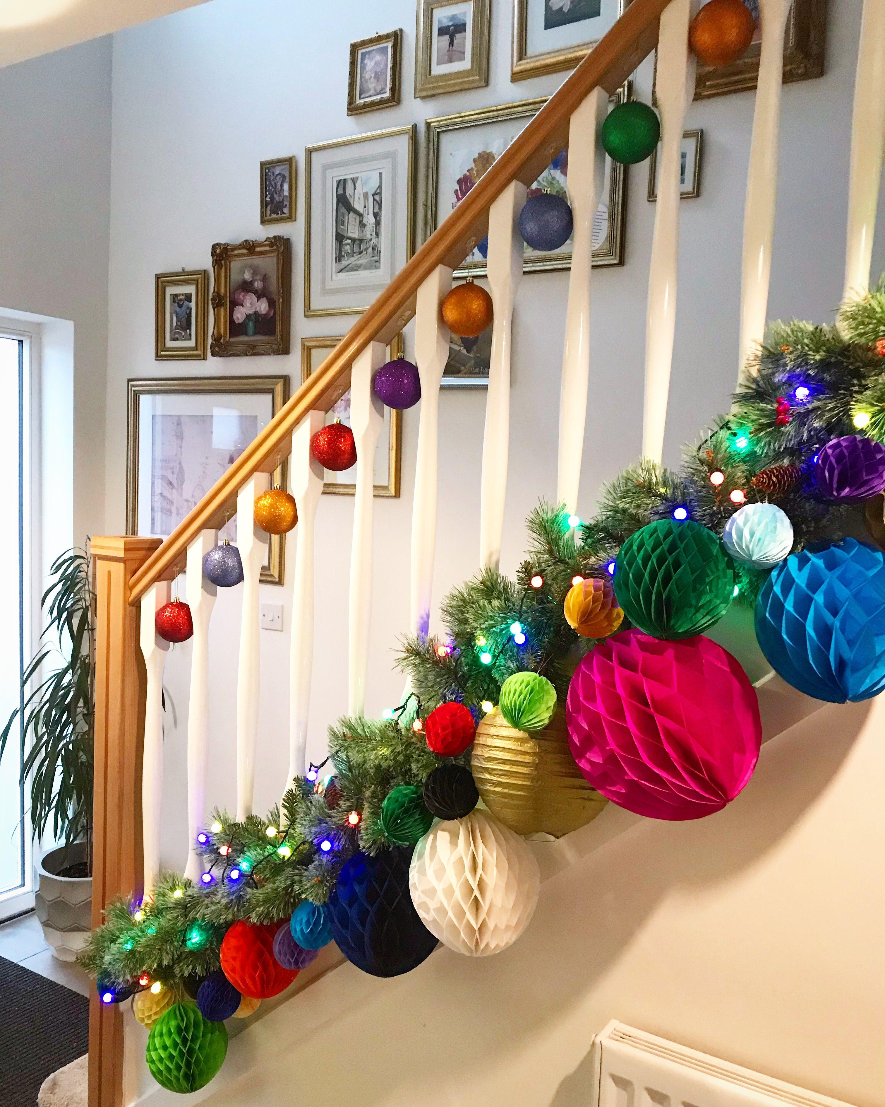 Stairway Christmas Decor. Paper Honeycomb Ball Garland
