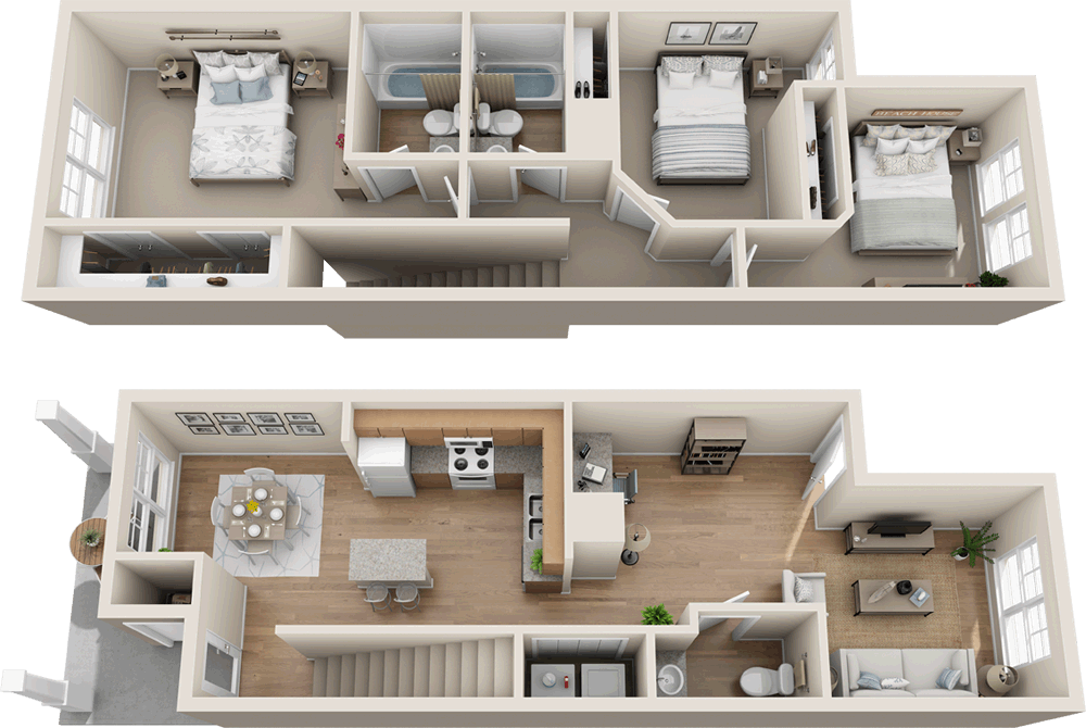 Three Bedroom Two And 1 2 Bath Townhome 1 256 Sq Ft House Layout Plans Small House Design Plans Architectural Floor Plans