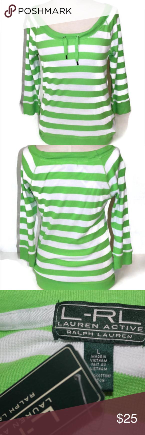 "LRL Active Ralph Lauren Striped 3/4 Sleeve Shirt LRL Active Scoop Neck top. Raglan cut sleeves. 100% Cotton. New with tags! Bust measures 19"" flat across front. Shirt measures 25"" in length from collar to bottom hem. Lauren Ralph Lauren Tops Tees - Short Sleeve"