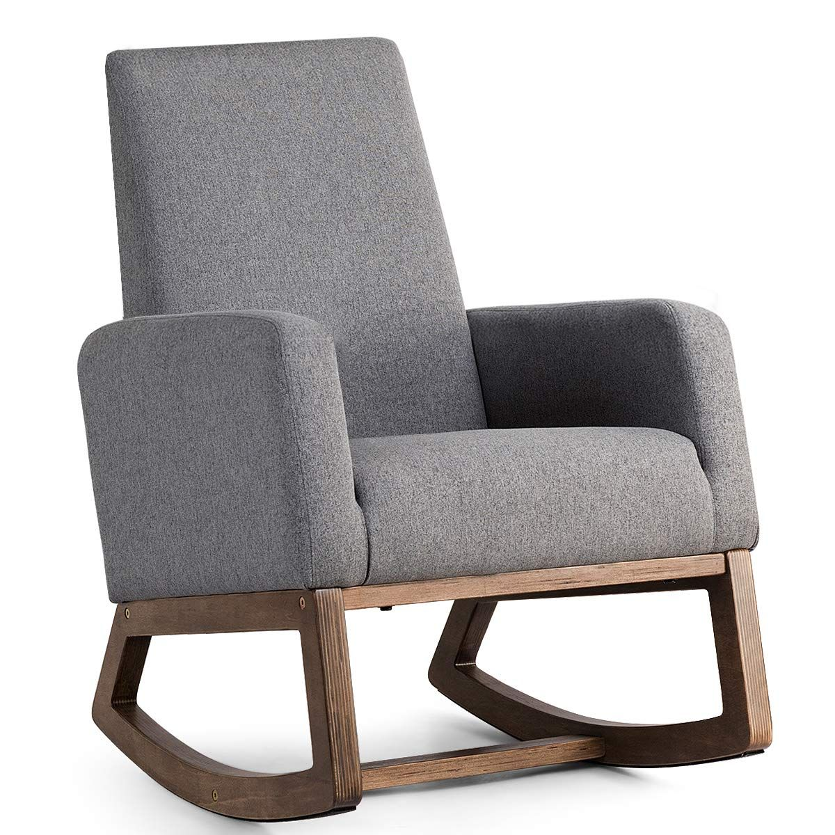 Amazon Com Giantex Upholstered Rocking Chair Modern High Back Armchair Comfortable Rocker F Upholstered Rocking Chairs Mid Century Rocking Chair Rocking Chair