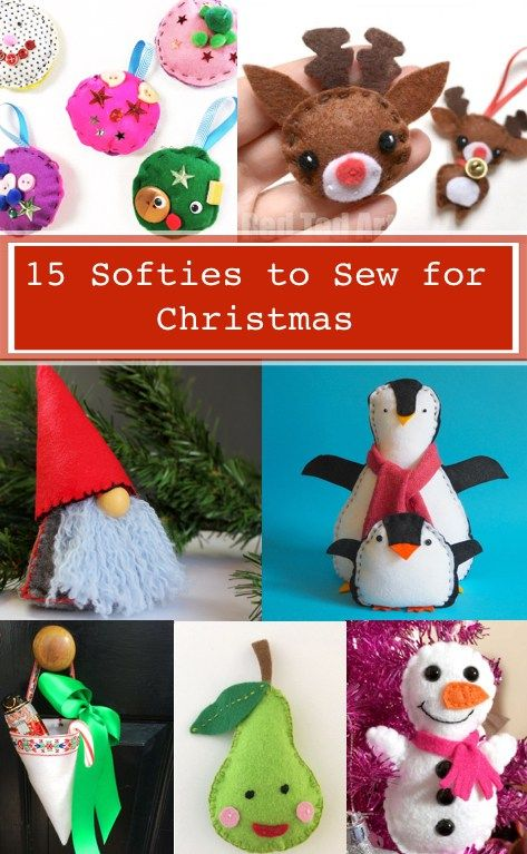15 Softies to Sew for Christmas is part of Kids Crafts Christmas Sewing Projects - I'm really excited to share this roundup of Christmas softies you can sew! This collection has 15 easy sewing tutorials for you and the kids to m