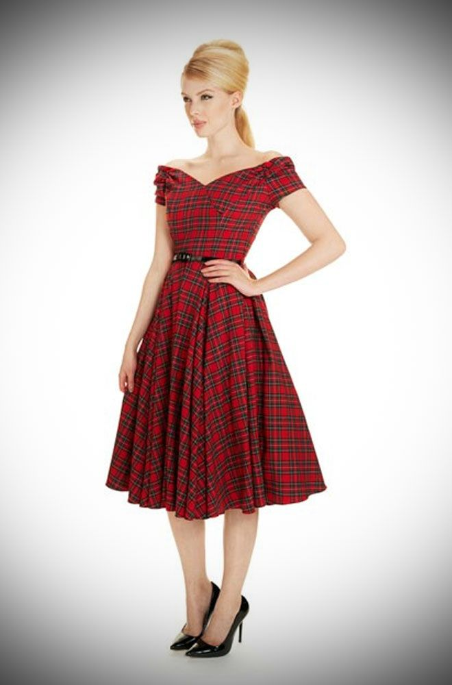 1950's style Red Tartan Fatale Prom dress at Deadly is the