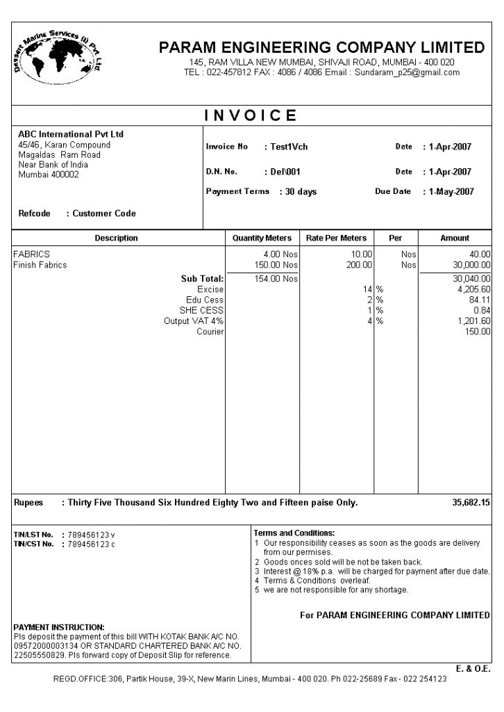 Tally Erp  Invoice Customization Format Invoice Format In Excel