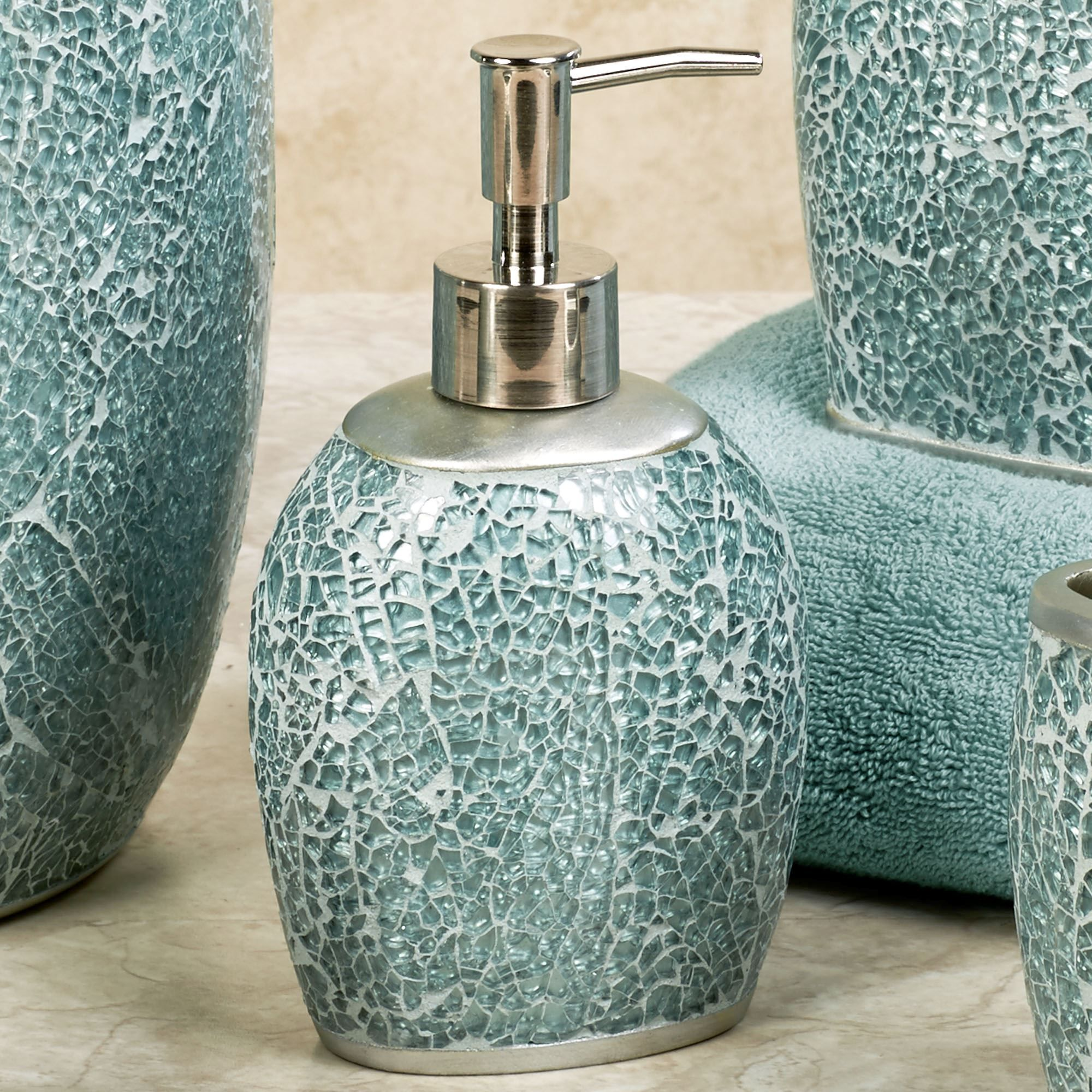 Calm Waters Light Aqua Mosaic Bath Accessories Posts Soaps and