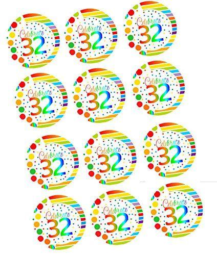 CakeSupplyShop ItemRE3032 Happy 32nd Birthday 3inch