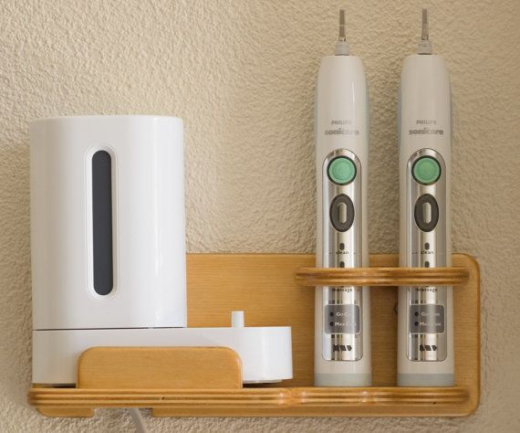 Superbe Wooden Wall Mount Holder For Sonicare FlexCare Platinum Toothbrushes And  Charger.