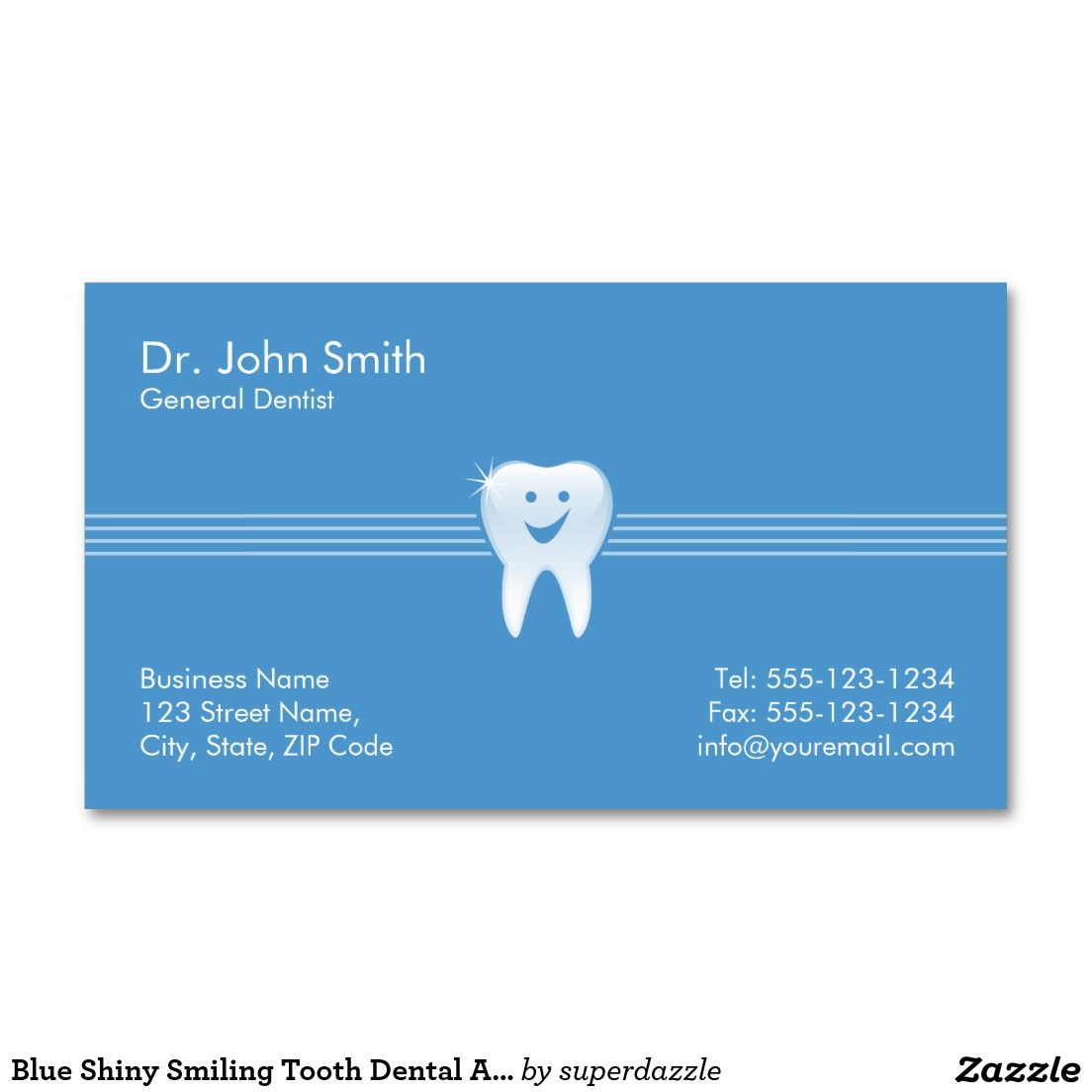 Blue Shiny Smiling Tooth Dental Appointment Business Card ...