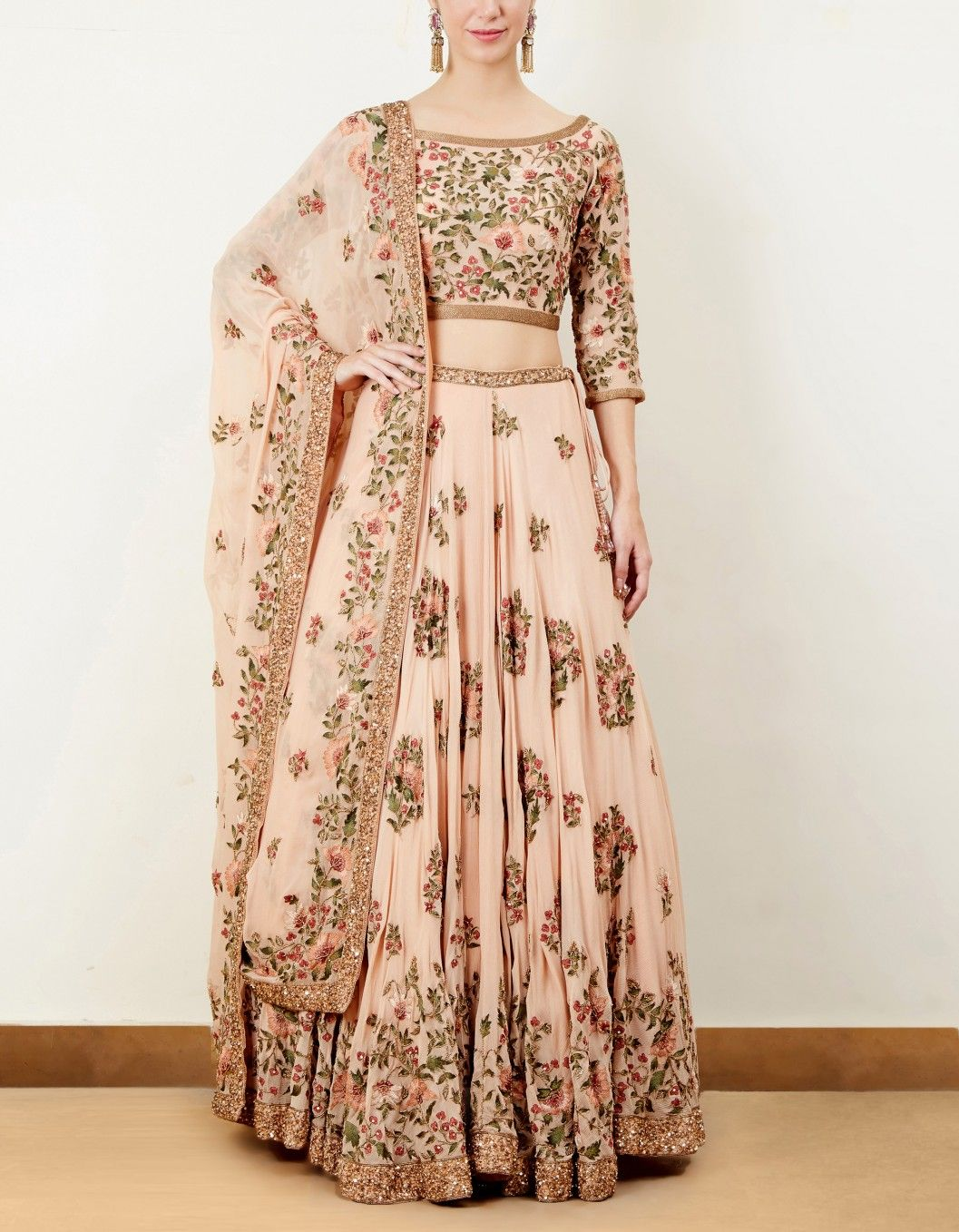 c110d4a00b Buy Blush Thread Embroidered Lehenga Set by NS BY NAKUL SEN Available at  Ogaan Online Shop - Romantic Pink Floral Lehenga