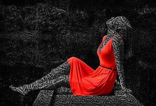 Mujer, Pensativo, Diseño, Creativa