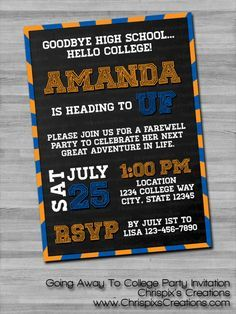 Going Away To College Party Invitation Chrispix S Creations Grad