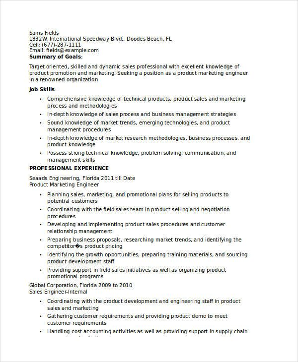 Product Marketing Engineer Resume , Marketing Resume Samples for - career objectives for resume for engineer