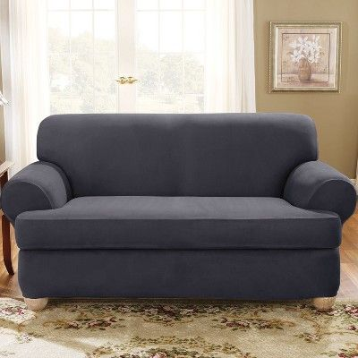 Strange Stretch Suede T Loveseat Slipcover Storm Blue Sure Fit In Unemploymentrelief Wooden Chair Designs For Living Room Unemploymentrelieforg