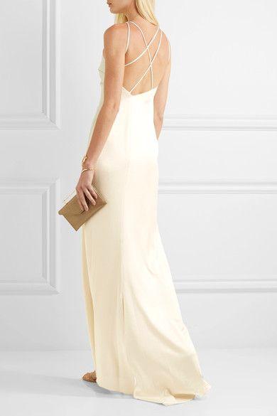 Open-back Satin Gown - Cream Halston Heritage hHv7TmxNy