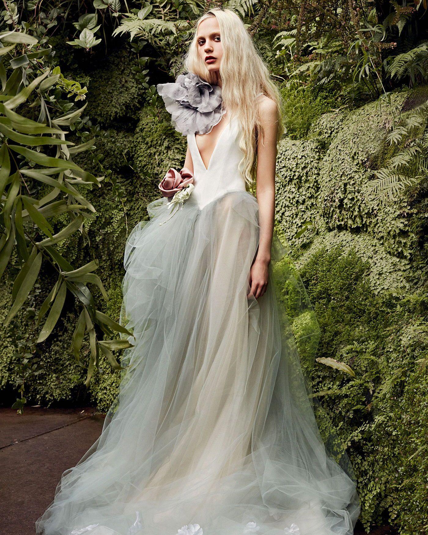 Vera Wang Spring 2020 Larkspure Sleeveless A Line Wedding Dress With V Neckline Blue Gray Tu Vera Wang Bridal Wedding Dresses Vera Wang Bridal Fashion Week [ 1752 x 1400 Pixel ]