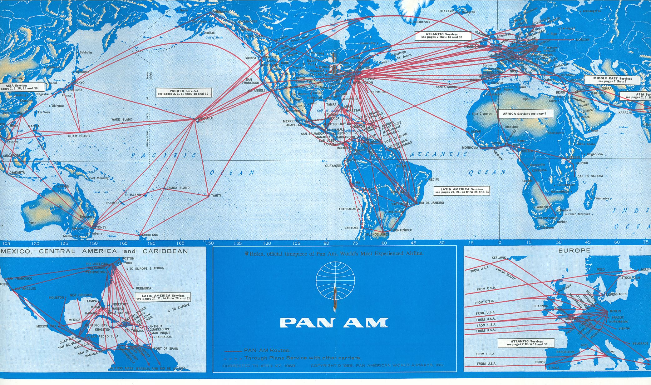 Route Map Pan American World Airways Timetables - Us commercial flight path map