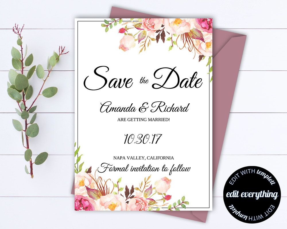Floral Save The Date Wedding Template   Floral Save The Date Invite    Printable Save Date