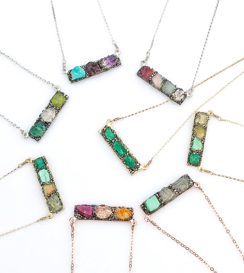 925 Sterling Silver Necklace,Birthstone Pendant Bohemian Jewelry Sapphire Jewelry Multicolor Sapphire Gift Ideas Mothers Day Jewelry