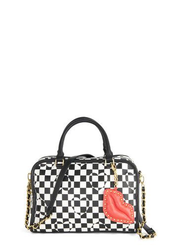 Betsey Johnson Find Your Passion Bag by Betsey Johnson - Red, Gold, Checkered / Gingham, Chain, Studs, Best, Faux Leather, Multi, Black, Whi...